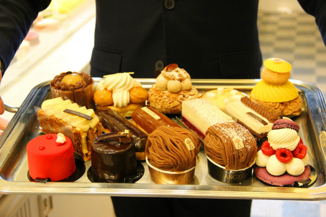 A tray of beautiful pastries at Angelina