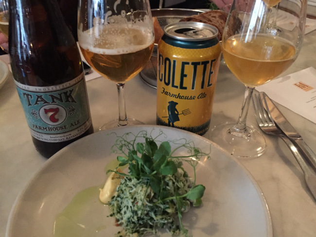 salad paired with Great Divide Collette Farmhouse Ale and Boulevard Tank 7 Saison