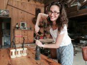 Julie opening wine