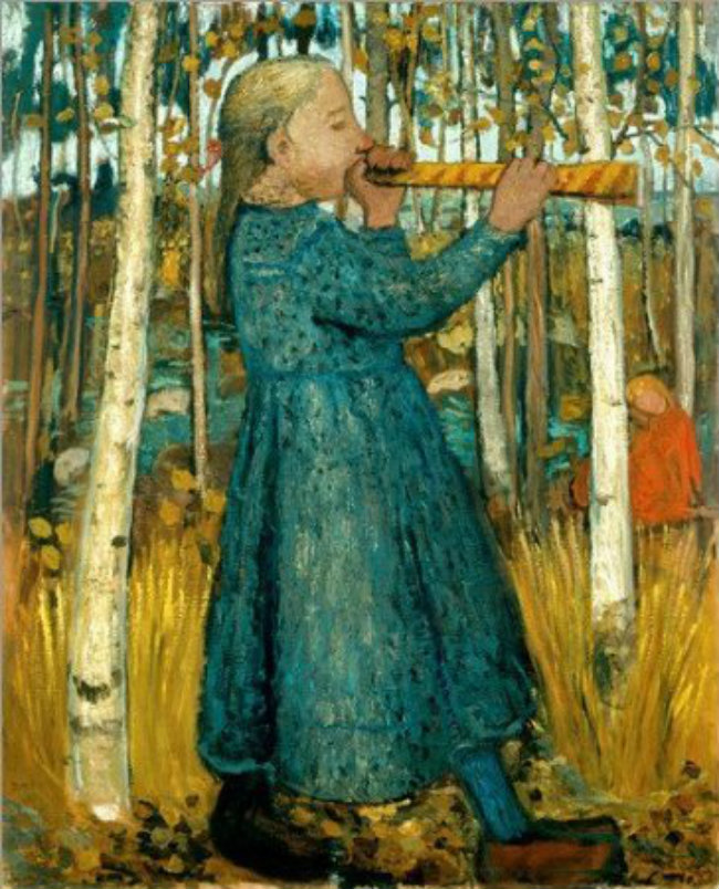Right: Paula Modersohn-Becker, Girl Playing a Flute in the Forest of Birch Trees, 1905, distress on canvas on wood, 110.4 x 90.2 cm, Museen Böttcherstrasse, Paula Modersohn-Becker Museum, Brême © Paula-Modersohn-Becker-Stiftung, Bremen.