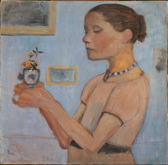 Paula Modersohn-Becker, Girl Holding a Glass with Yellow Flowers, 1902, distemper on cardboard, 52 x 53 cm, Bremen, Kunsthalle Bremen-Der Kunstverein in Bremen, © Paula-Modersohn-Becker-Stiftung, Bremen.