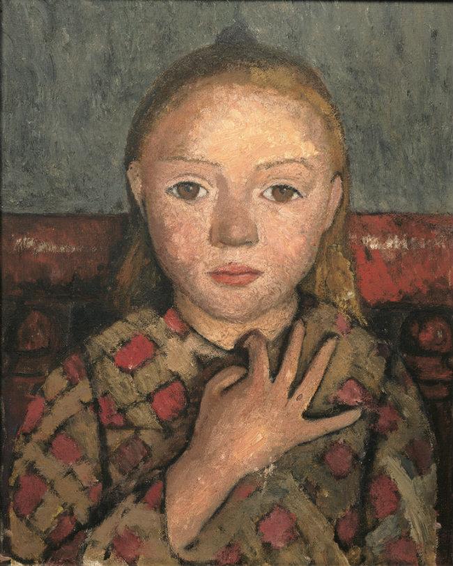 Paula Modersohn-Becker, Portrait of a Girl with Fingers Spread Against Her Chest, c. 1905, distemper on canvas, 41 x 33 cm. Von der Heydt-Museum, Wuppertal © Paula-Modersohn-Becker-Stiftung, Bremen.