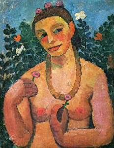 Paula Modersohn-Becker, Self-Portrait with Amber Necklace, 1906, distemper on paper, 62.2 x 48.2 cm, Museen Böttcherstrasse, Ludwig Roselius Museum, Bremen.