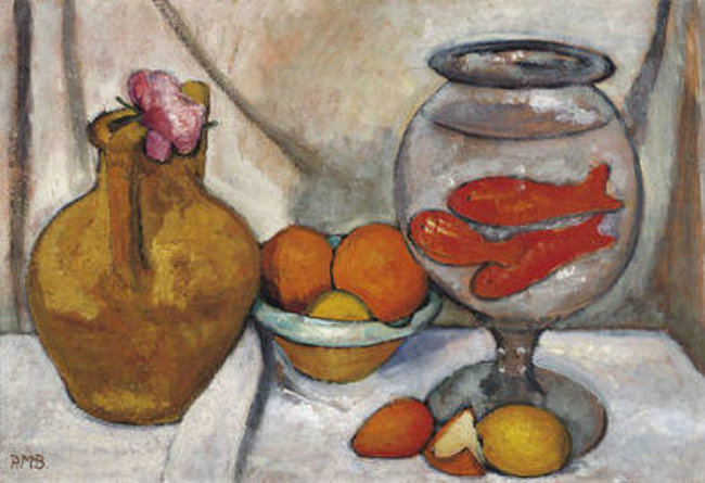 Paula Modersohn-Becker, Still Life with Gold Fish Bowl, May-June 1906, distemper on cardboard, 50.5 x 74 cm, Von der Heydt-Museum, Wuppertal, © Paula-Modersohn-Becker-Stiftung, Bremen.