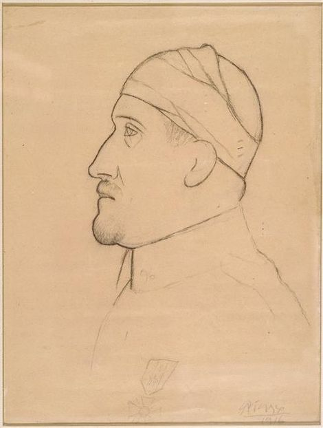 Pablo Picasso, Apollinaire in Profile with Bandaged Head