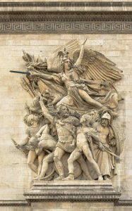 """The Departure of the volunteers of 1792"" (a.k.a. La Marseillaise), sculpture by François Rude, Arc de Triomphe de l'Etoile, Paris, France. courtesy of Wikimedia"