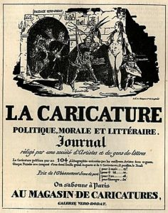 Advertisement for La Caricature, Politique, Morale et Littéraire Journal, Illustration by J.J. Grandville (Jean Ignace Isidore Gérard) Lithograph and Letterpress, 1830 / Public Domain
