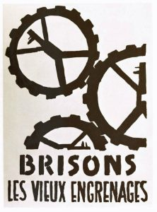 From the catalogue of an exhibition on French May 1968 protest posters: Les Affiches de mai 68 ou l'Imagination graphique / Public Domain