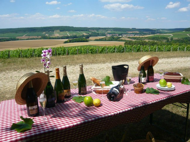 Champagne vineyard feast