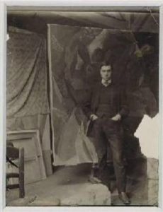 Andre Salmon in front of Picasso's 3 Woman 1908 / courtesy of Andre Salmon official website