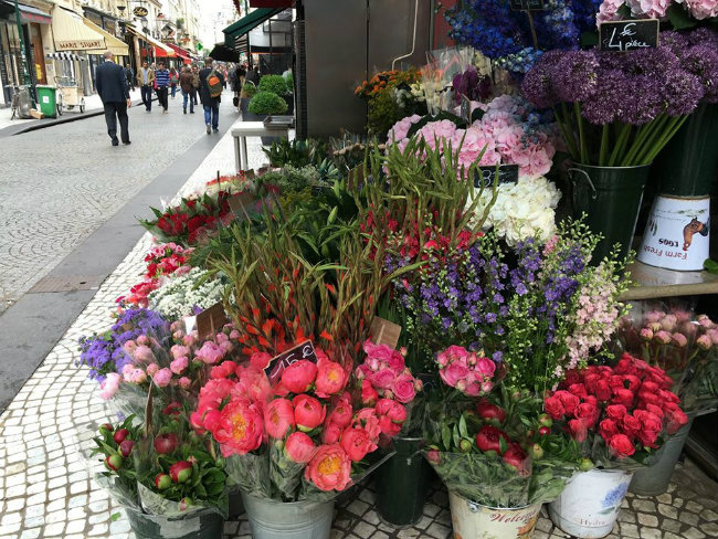 Flowers on rue Montorgueil, the historic market street in the 2nd