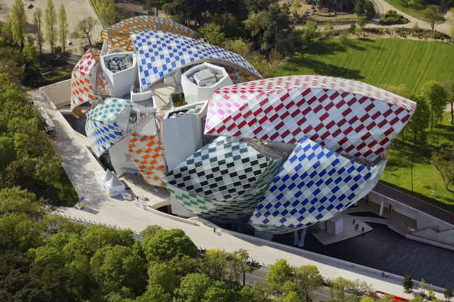 Fondation Louis Vuitton as seen from the air