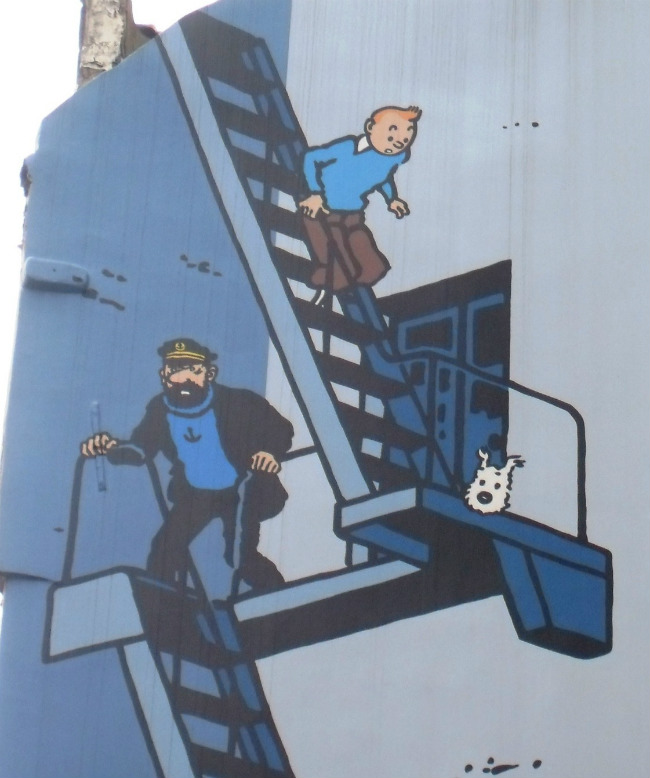 Tintin, Milou, and Captain Haddock, as depicted on a wall mural in Brussels