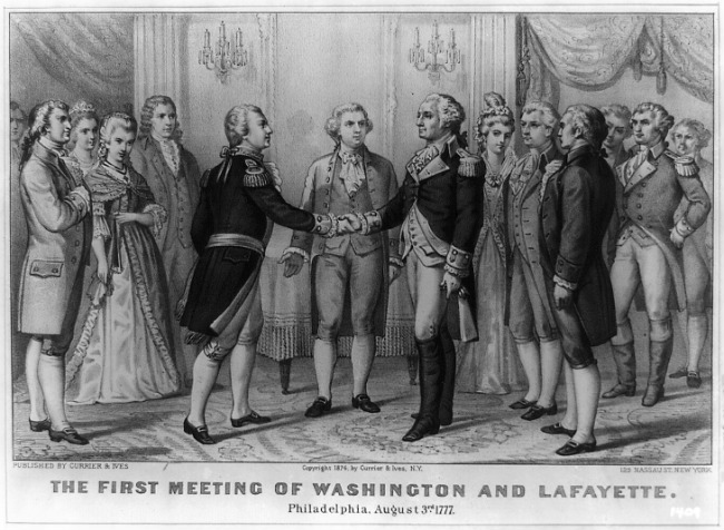 The Marquis de Lafayette first meets George Washington