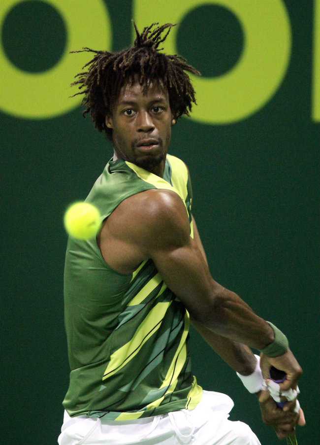 Gael Monfils during the final of the Qatar Exxonmobil Open in Doha