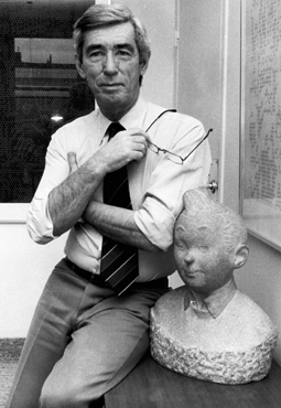 Hergé, with a bust of Tintin