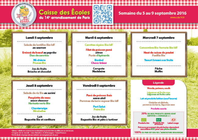 Weekly menu for schools in the 14th arrondissement of Paris