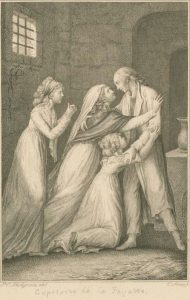 Early 19th century depiction of Lafayette's prison reunion with his wife and daughters.