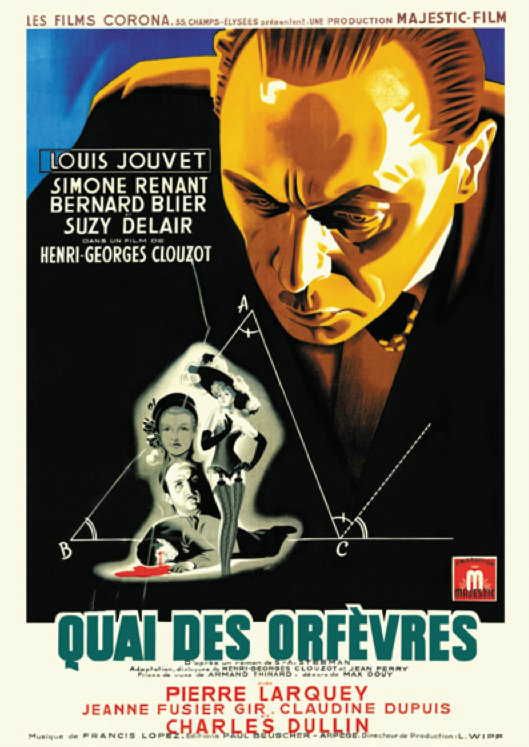 "Poster for the 1947 film ""36 quai des Orfèvres""."