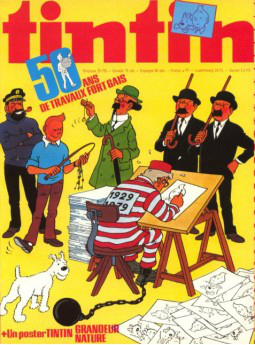 An issue of Tintin magazine celebrating the fiftieth anniversary of The Adventures of Tintin.