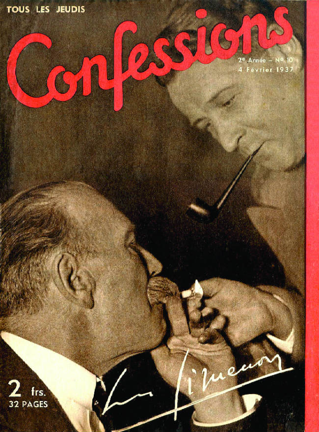 Old magazine cover showing Simenon with Police Commissaire Marcel Guillaume, who inspired Maigret