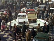 "A still from ""Trafic,"" Jacques Tati's 1971 film"