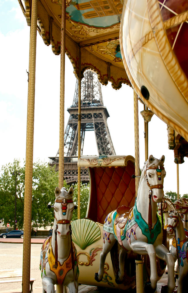 A merry-go-round near the Eiffel Tower
