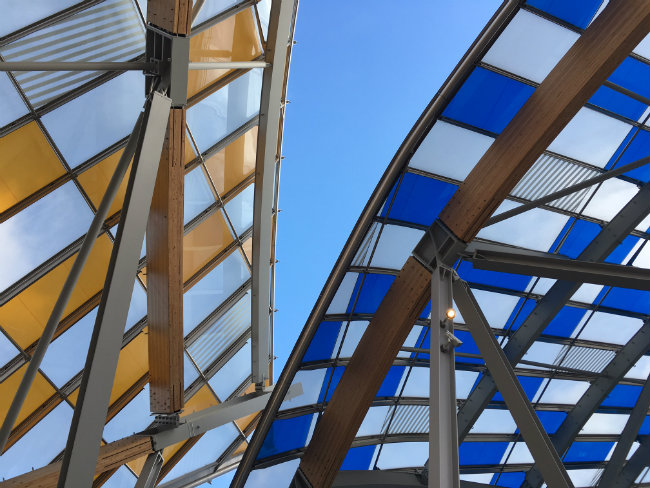 Artist Daniel Buren has covered the museum in colorful panels. Photo: MW Nicklin