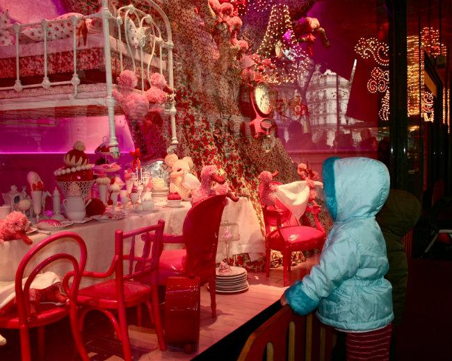 Festive Christmas shop windows in Paris