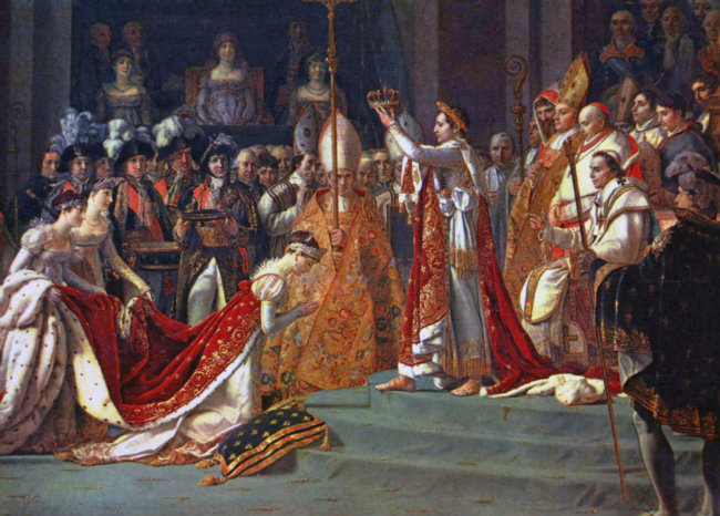 "David's famous painting, ""The Coronation of Napoleon."""
