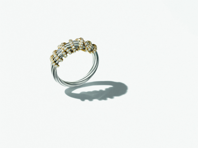 Gold ring with diamonds, David Yurman exclusive for Printemps. 1250 euros