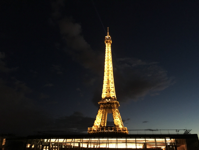 The Eiffel Tower as seen from the roof of the Quai Branly. Photo: Mary W Nicklin