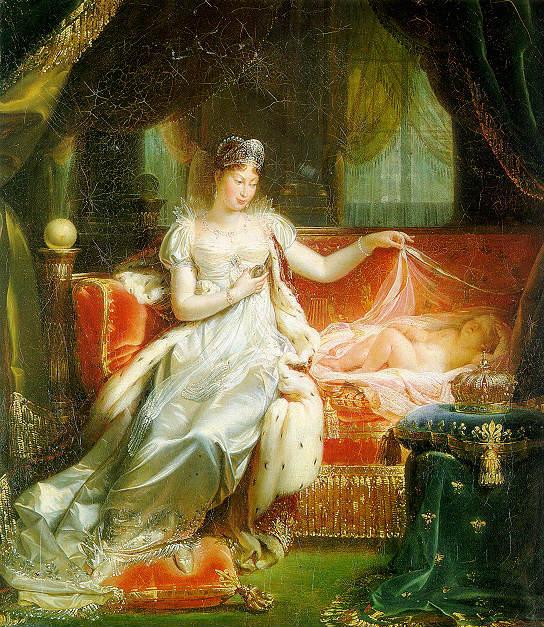 L'impératrice Marie-Louise veillant sur le sommeil du roi de Rome. (Franque Joseph, 1811).