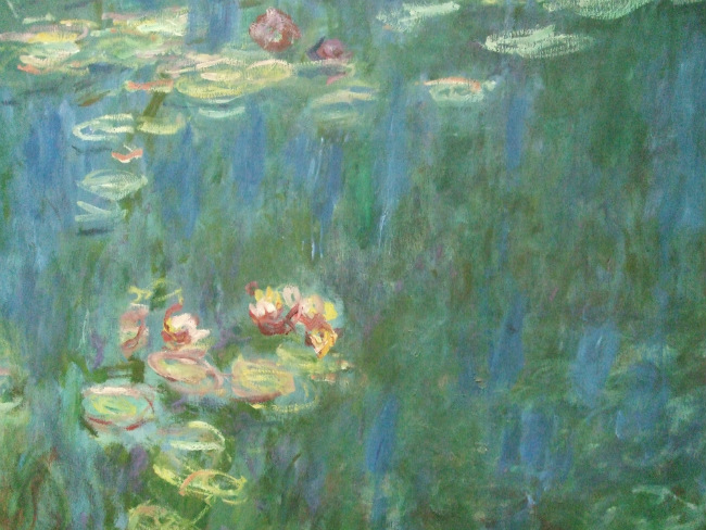 close up of Monet's water lilies