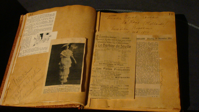 Scrapbook of Mata Hari in the Frisian Museum in Leeuwarden, the Netherlands