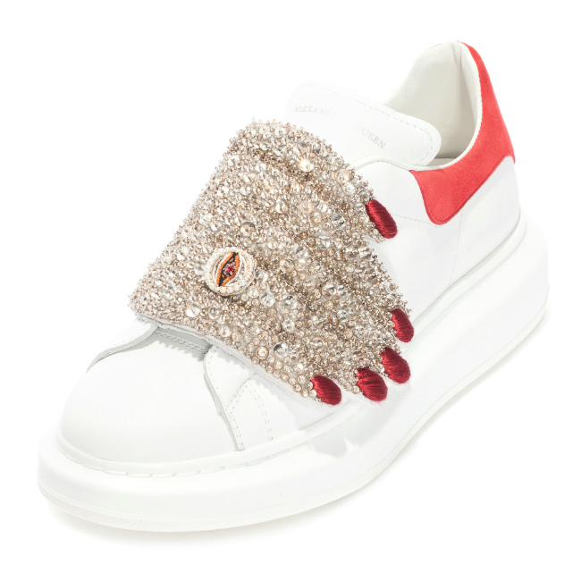 ALEXANDER McQUEEN chez BIONDINI PARIS. Theatrical strass and leather sneakers. €1,495.