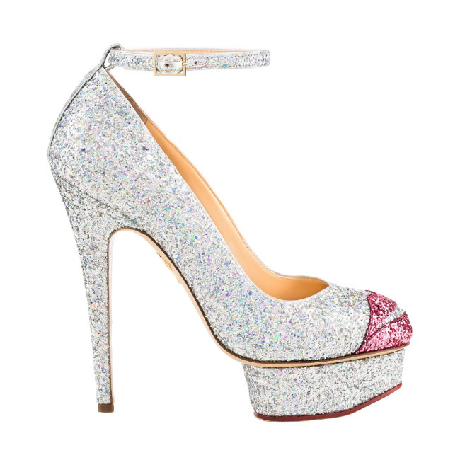 CHARLOTTE OLYMPIA chez BIONDINI PARIS. Glitter leather strappy shoes. €665.