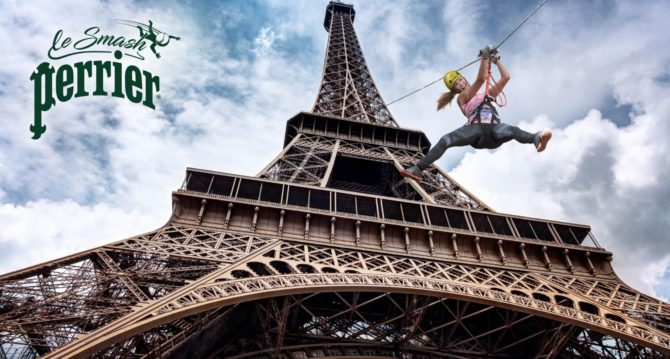 Perrier Launches a Zip-line from the Eiffel Tower to Celebrate Roland Garros