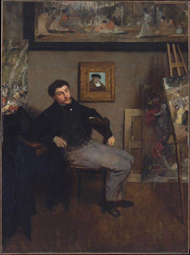 Edgar Degas, Portrait of James Tissot, c. 1867-68, oil on canvas, Metropolitan Museum of Art, NY.  Public Domain: Wikipedia