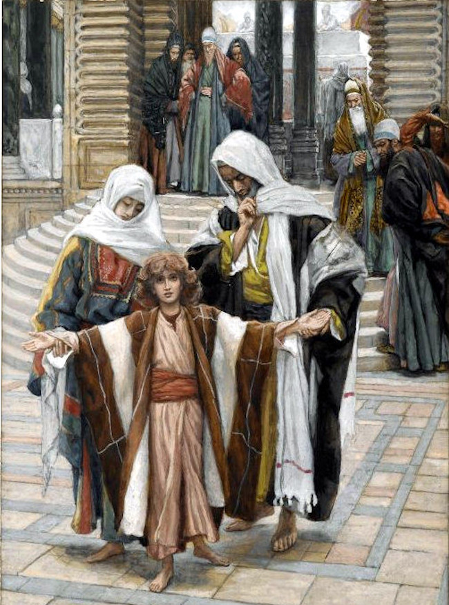James Tissot, Jesus Found in the Temple, between 1886 and 1894, gouache over graphite on grey wove paper, Brooklyn Museum of Art, NY.  Public Domain: Wikipedia