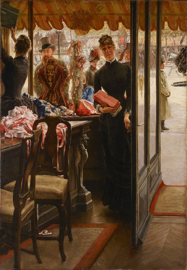 James Tissot, The Shop Girl, from Women of Paris, 1883-85, oil on canvas, Art Gallery of Ontario,