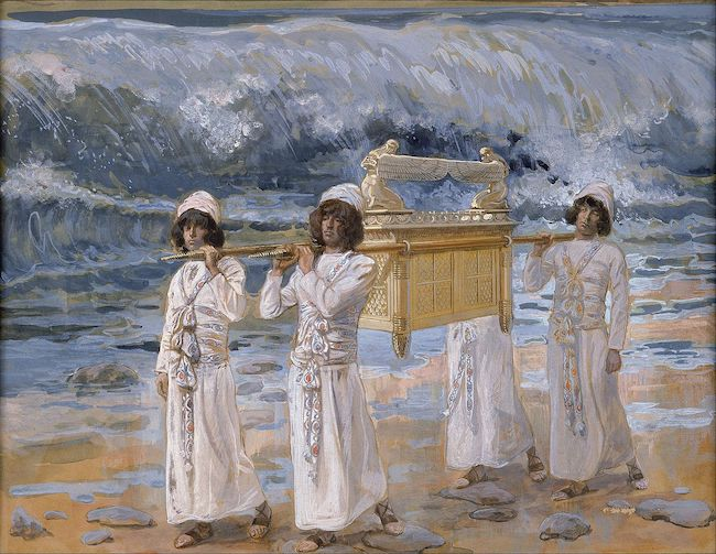 James Tissot, The Ark Passes Over the Jordan, between 1896 and 1902, gouache on board, The Jewish Museum, NY. Public Domain: Wikipedia.