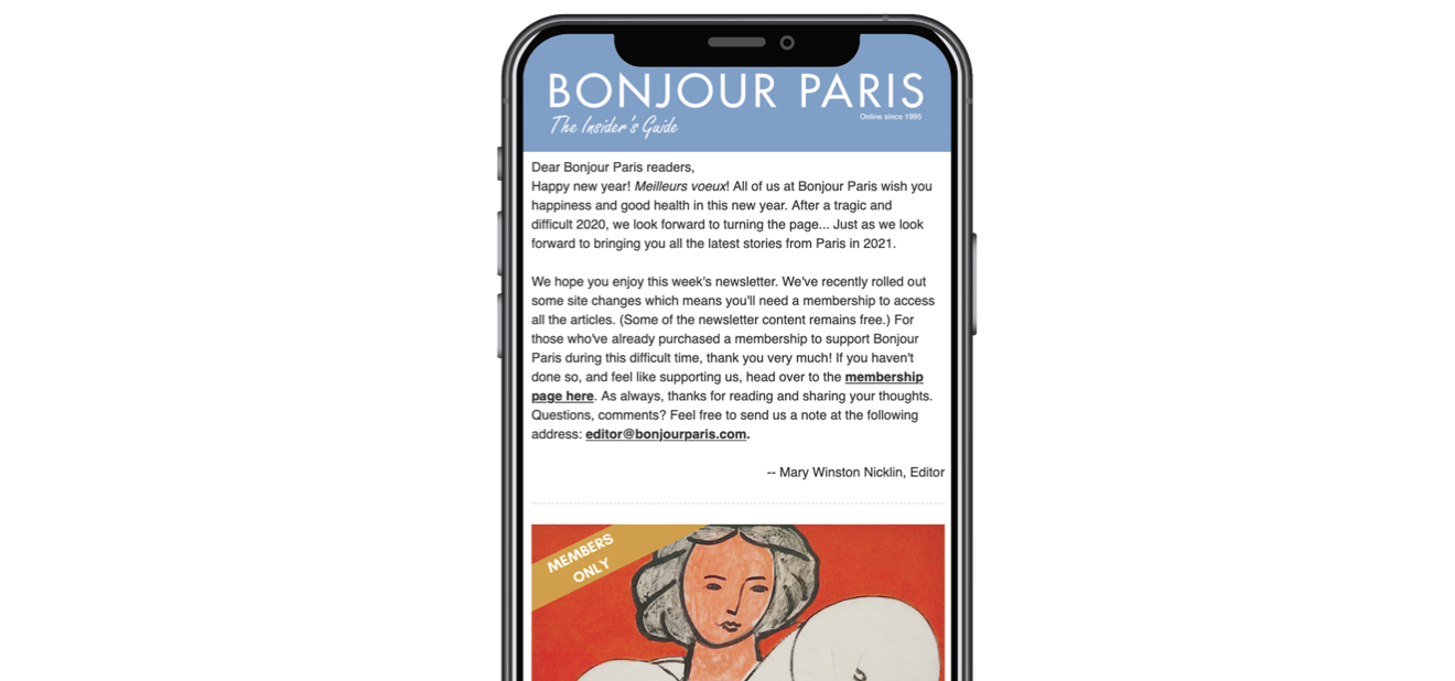 The weekly Bonjour Paris newsletter