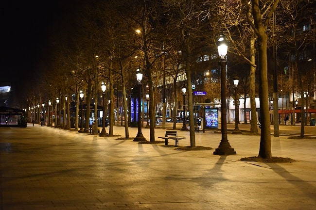 The emptiest Champs Elysées you'll ever see.