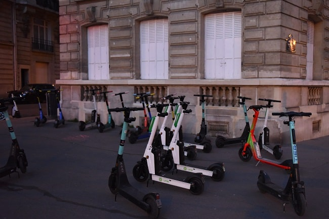 Scooters are plentiful after curfew.