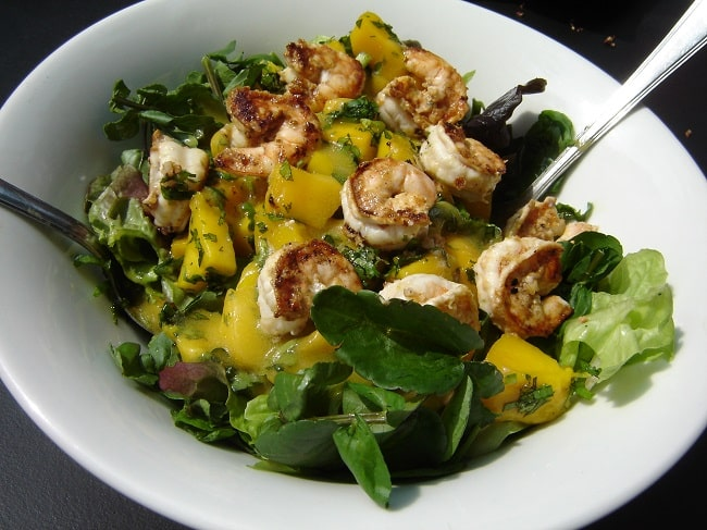 Recipe for Spring: Watercress Salad with Grilled Shrimp and Mangoes