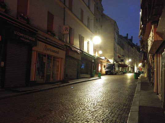 Rue Mouffetard in the middle of the night.