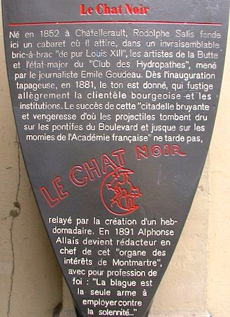 Histoire de Paris plaque at 84, blvd de Rochechouart, Le Chat Noir's first location