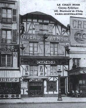 Antique post card shows Le Chat Noir at 68, blvd de Clichy