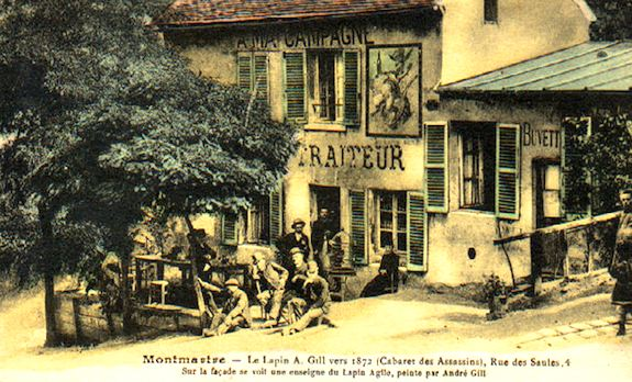 Cabaret Assassins (circa 1872) on site of current Lapin Agile. Public domaine image.